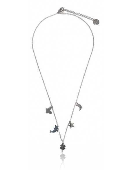 Collier acier inoxydable pendentif trèfle et pampilles