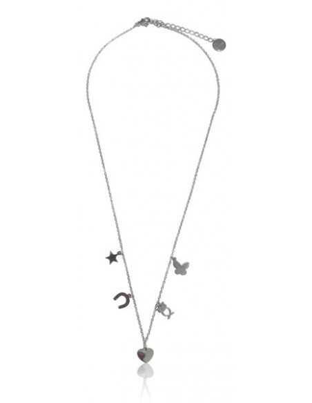 Collier acier inoxydable pendentif coeur et pampilles