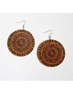 Boucles d'oreilles fantaisie bois motif mandalas marron/bleu 5 cm