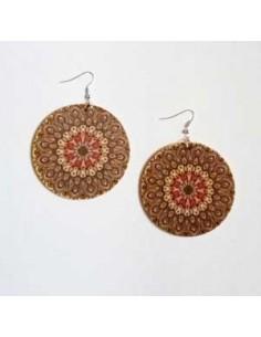 Boucles d'oreilles en bois motifs mandalas rondes 5 cm