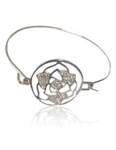 Bracelet manchette fin motif fleur sertie