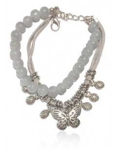 Bracelet agate grise multirangs pampilles papillon