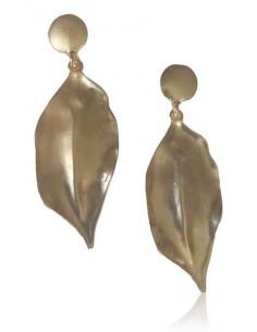 Boucles d'oreilles fantaisie feuilles pendantes effet patiné doré