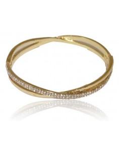 Bracelet jonc doré croisé de zirconiums