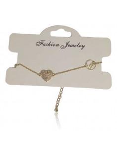 Bracelet fantaisie fin avec pendant coeur à zirconiums incrustés