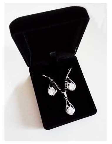 Parure en coffret collier pendentif goutte zirconium & boucles