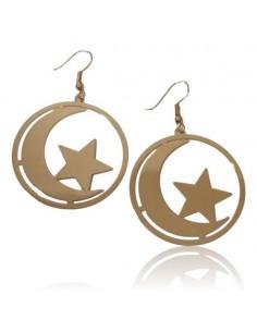 Boucles d'oreilles créoles pendantes motif étoiles et lune