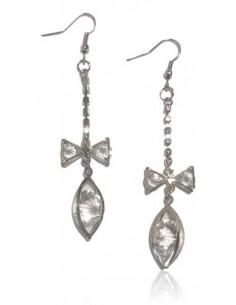 Boucles d'oreilles pendantes noeud et goutte cristal