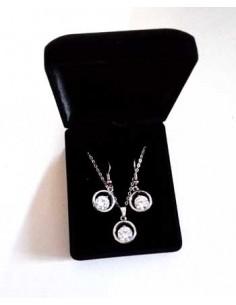 Parure en coffret collier pendentif anneau zircon & boucles