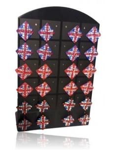 Support + 12 paires de B.O drapeau anglais 10 mm sertis