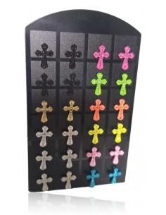 Support + 12 paires de B.O croix 10 mm sertis