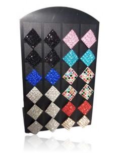 Support + 12 paires de B.O carrés 10 mm sertis