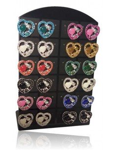 Support + 12 paires de B.O coeurs fantaisie 10 mm serties