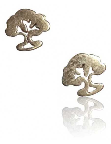 12 paires de B.O puces à vis acier inoxydable motif arbre