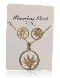 Parure acier collier pendentif feuille de cannabis et boucles d'oreilles