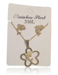 Parure acier inoxydable collier pendentif fleur et dauphin & B.O