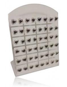 24 paires de boucles d'oreilles motif coeur noir serti sur présentoir