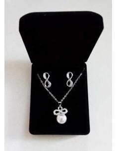 Parure en coffret collier pendentif perle infini & boucles