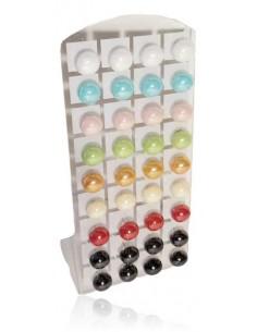 18 paires B.O boules couleurs 15 mm sur présentoir