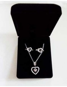 Parure en coffret collier pendentif coeur fléché & boucles