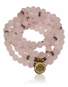Collier mala quartz rose motif lotus pierres boules 8 mm