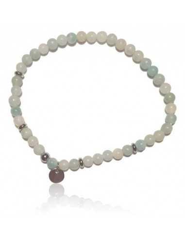 Bracelet aigue marine charm acier pierres boules 4 mm