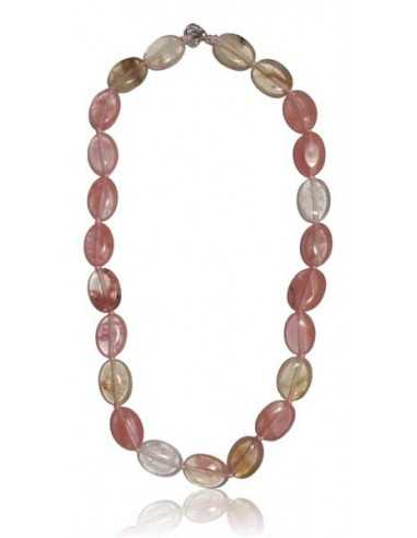Collier quartz rose hematoide pierres ovales