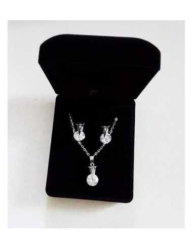 Parure en coffret collier pendentif zirconium & boucles
