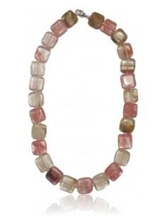 Collier quartz rose hematoide pierres carrées
