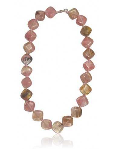 Collier quartz rose hematoide pierres carrées géométriques