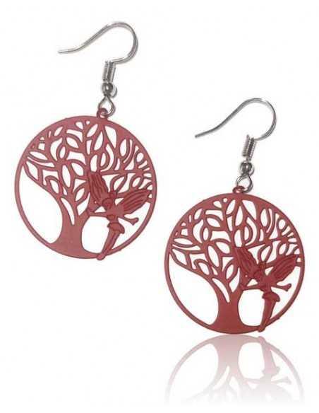 Boucles d'oreilles rondes fantaisie arbre filigrane coloré