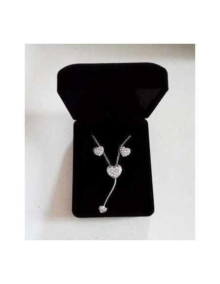 Parure en coffret collier pendentif coeur serti & boucles