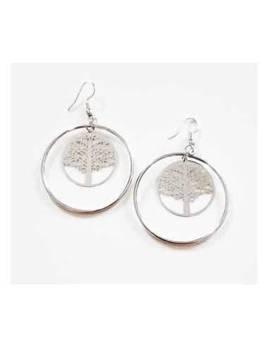 Créoles fantaisie motif arbre de vie 5 cm