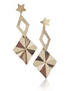 Boucles d'oreilles pendantes étoiles motifs géométriques