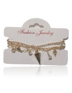 Bracelet fantaisie multirangs pampilles pointes et strass