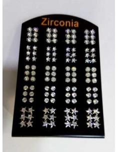 60 paires de boucles d'oreilles puces zirconium sur présentoir