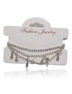 Bracelet fantaisie multirangs pampilles gouttes