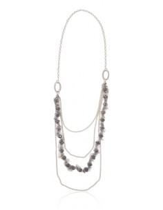 Collier sautoir multirangs perles cristal et tissu tulle