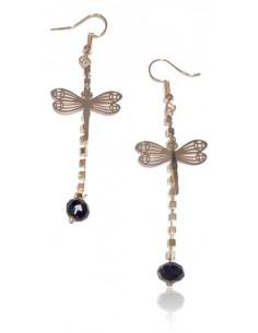 Boucles d'oreilles pendantes perle noire et papillon