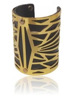 Bracelet manchette large motifs graphiques sur simili cuir