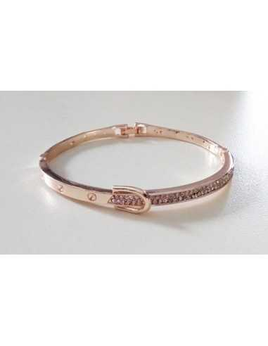 Bracelet rigide gold rose motif ceinture sertie de zirconium