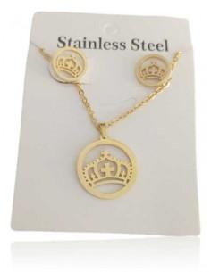 Parure acier collier pendentif couronne sur anneau et B.O