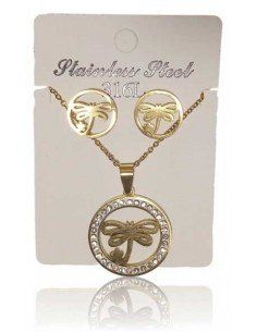 Parure acier collier pendentif libellule sur anneau serti et B.O