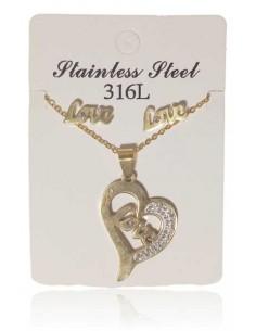 Parure acier collier pendentif coeur Love et B.O