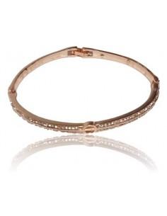 Bracelet jonc gold rose serti motif cercle géométrique