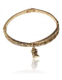 Bracelet jonc avec charm et double anneaux serti métal rhodié