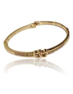 Bracelet jonc serti de zirconiums motif double coeurs