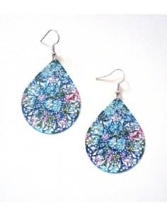 Boucles d'oreilles fantaisie gouttes filigranes motifs fleurs 5 cm