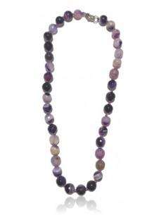 Collier agate violet pierres boules facettées 10 mm
