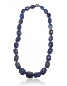 Collier lapis lazuli pierres cubiques larges dégradées